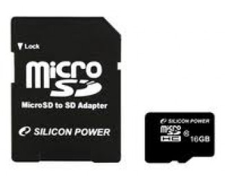 Карта памяти microSD 16Gb Silicon Power Class 10 + адаптер (SP016GBSTH010V10-SP)