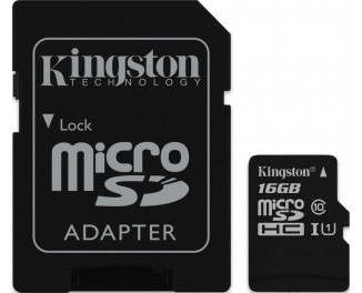 Карта памяти microSD 16Gb Kingston (SDC10G2/16GB) + SD адаптер