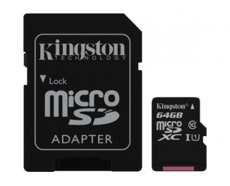 Карта памяти microSD 64Gb Kingston (SDC10G2/64GB) + SD адаптер