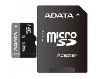 Карта памяти mircoSD 64Gb ADATA UHS-I (AUSDX64GUICL10-RA1) + SD адаптер