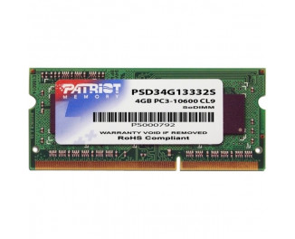 Память для ноутбука SO-DIMM DDR3 4 Gb (1333 MHz) Patriot Signature Line (PSD34G13332S)