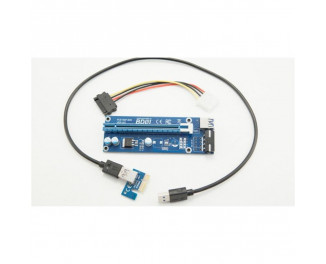 Переходник Riser PCI-EX x1=>x16, 6-pin, SATA=>6Pin, USB 3.0 AM-AM 0,6 м