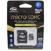 Карта памяти microSD 8Gb Team (TUSDH8GCL1003) + SD адаптер