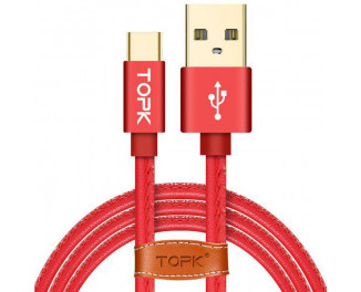 Кабель USB Type-C > USB  TOPK Premium 1.0м Leather Red