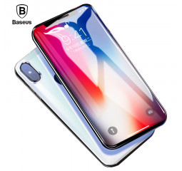 Защитное стекло для Apple iPhone X Baseus Real 3D Edge Full PET Soft Edge Ultra Thin 0.23mm (White)