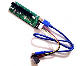 Переходник Riser PCI-EX x1=>x16, 4-pin, SATA=>4Pin, USB 3.0 AM-AM 0,6 м VER 007