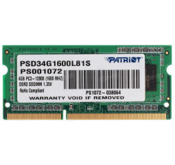 Память для ноутбука SO-DIMM DDR3 4 Gb (1600 MHz) Patriot Original (PSD34G1600L81S)