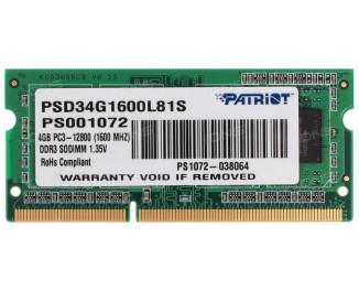Память для ноутбука SO-DIMM DDR3 4 Gb (1600 MHz) Patriot Original (PSD34G1600L81S)