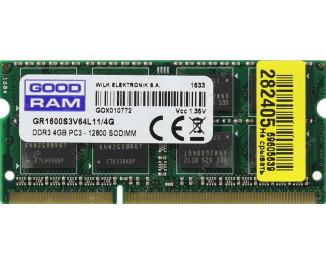Память для ноутбука SO-DIMM DDR3 4 Gb (1600 MHz) GOODRAM (GR1600S3V64L11/4G)
