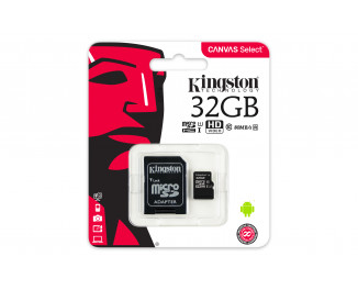 Карта памяти microSD 32Gb Kingston CANVAS Select (SDCS/32GB) + SD адаптер