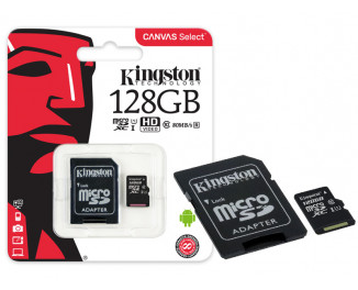 Карта памяти microSD 128Gb Kingston CANVAS Select (SDCS/128GB) + SD адаптер