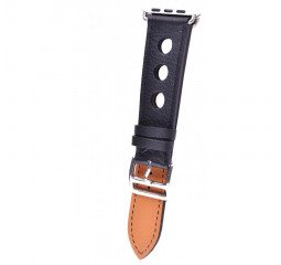 Кожаный ремешок для Apple Watch 38/40 mm Leather Classic Perfo Black