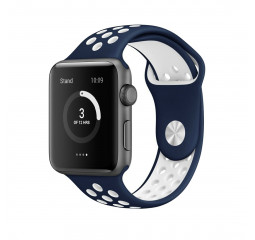 Силиконовый ремешок для Apple Watch 38/40 mm Sport Nike+ Midnight Blue/White