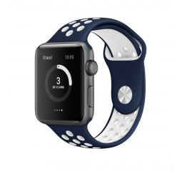Силиконовый ремешок для Apple Watch 38/40 mm Sport Nike+ /Midnight Blue&White