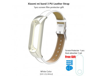Кожаный ремешок для Xiaomi Mi Band 3 Wrist Strap PU Leather /white