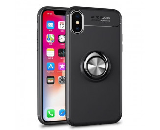 Чехол для Apple iPhone XS  HOTR Silicone Case with Ring /black