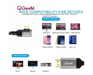 Кабель USB Type-C > HDMI QGeeM Video Adapter Cable Corner (3.0m)