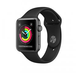 Смарт-часы Apple Watch Series 3 GPS 42mm Space Gray Aluminium Case with Black Sport Band (MTF32)