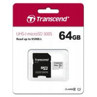 Карта памяти microSD 64Gb Transcend UHS-I 300S (TS64GUSD300S-A) + SD адаптер