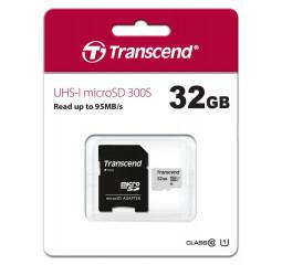 Карта памяти microSD 32Gb Transcend UHS-I 300S (TS32GUSD300S-A) + SD адаптер