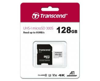 Карта памяти microSD 128Gb Transcend UHS-I 300S (TS128GUSD300S-A) + SD адаптер