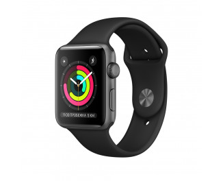 Смарт-часы Apple Watch Series 3 GPS 38mm Space Gray Aluminium Case with Black Sport Band (MTF02)