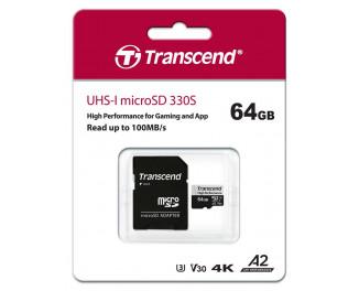 Карта памяти microSD 64Gb Transcend UHS-I 330S (TS64GUSD330S) + SD адаптер