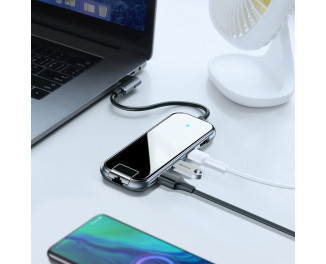 Адаптер USB Type-C > Hub  Baseus Multi-functional 6-in-1 (USB, HDMI, RJ45, PD) (CAHUB-DZ0G) /gray