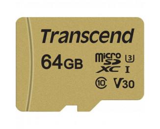 Карта памяти microSD 64Gb Transcend class 10 UHS-I U3 V30 (TS64GUSD500S)