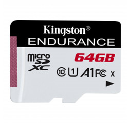 Карта памяти microSD 64Gb Kingston class 10 UHS-I U1 A1 High Endurance (SDCE/64GB)