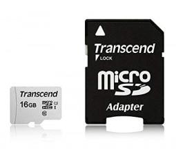 Карта памяти microSD 16Gb Transcend + SD адаптер (TS16GUSD300S-A)