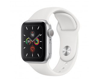 Смарт-часы Apple Watch Series 5 GPS 44mm Silver Aluminum Case with White Sport Band (MWVD2)