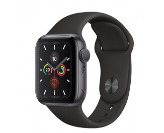 Смарт-часы Apple Watch Series 5 GPS 40mm Space Gray Aluminum Case with Black Sport Band (MWV82)
