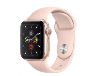 Смарт-часы Apple Watch Series 5 GPS 44mm Gold Aluminum Case with Pink Sand Sport Band (MWVE2)