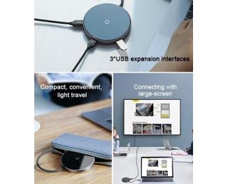 Адаптер USB Type-C > Hub и беспроводное зарядное устройство  Baseus Circular Mirror (Qi 10W, USB3.0, USB2.0, USB-C (PD), HDMI) (WXJMY-A0G) /gray