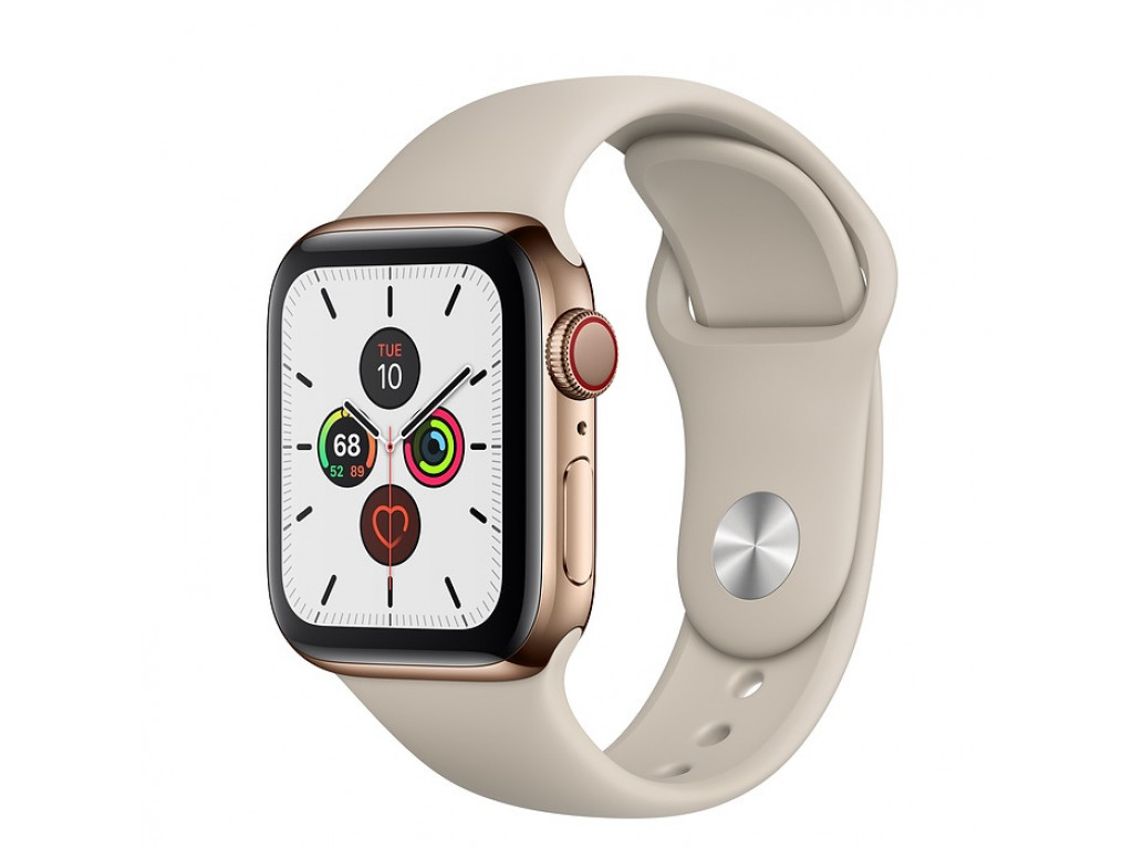 Смарт-часы Apple Watch Series 5 GPS + Cellular 40mm Gold Stainless Steel Case with Stone Sport Band (MWX62)