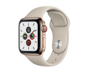 Смарт-часы Apple Watch Series 5 GPS + Cellular 44mm Gold Stainless Steel Case with Stone Sport Band (MWWH2, MWW52)