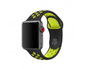 Силиконовый ремешок для Apple Watch 38mm Nike Sport Band /Black&Volt