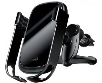 Автодержатель с беспроводной зарядкой Baseus Rock-Solid Electric Holder (WXHW01-01) Black