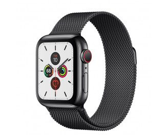 Смарт-часы Apple Watch Series 5 GPS + Cellular 44mm Space Black Stainless Steel Case with Space Black Milanese Loop (MWWL2, MWW82)
