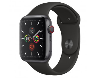 Смарт-часы Apple Watch Series 5 GPS + Cellular 44mm Space Gray Aluminum Case with Black Sport Band (MWW12, MWWE2)