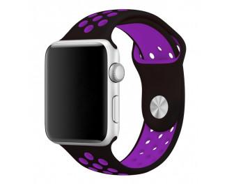 Силиконовый ремешок для Apple Watch 38/40 mm Sport Nike+ /Black&Purple