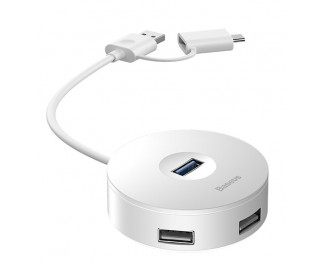 Адаптер USB Type С/USB > Hub  Baseus Round Box 5-in-1  0.12m (USB 2.0, USB 3.0, MicroUSB) (CAHUB-GB02) White