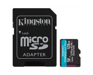 Карта памяти microSD 128Gb Kingston Canvas Go Plus C10 UHS-I U3 A2 + SD адаптер (SDCG3/128GB)