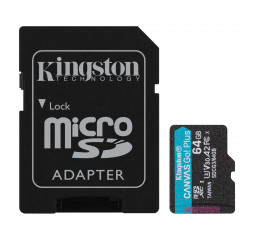 Карта памяти microSD 64Gb Kingston Canvas Go Plus C10 UHS-I U3 A2 + SD адаптер (SDCG3/64GB)