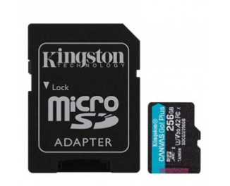 Карта памяти microSD 256Gb Kingston Canvas Go Plus class 10 UHS-I U3 A2 + SD-адаптер (SDCG3/256GB)