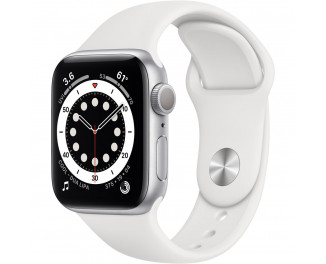 Смарт-часы Apple Watch Series 6 GPS 40mm Silver Aluminum Case with White Sport Band (MG283)