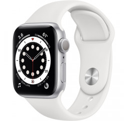 Смарт-часы Apple Watch Series 6 GPS 44mm Silver Aluminum Case with White Sport Band (M00D3)