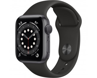 Смарт-часы Apple Watch Series 6 GPS 44mm Space Gray Aluminum Case with Black Sport Band (M00H3)
