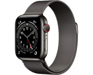 Смарт-часы Apple Watch Series 6 GPS + Cellular 44mm Graphite Stainless Steel Case with Graphite Milanese Loop (M09J3)
